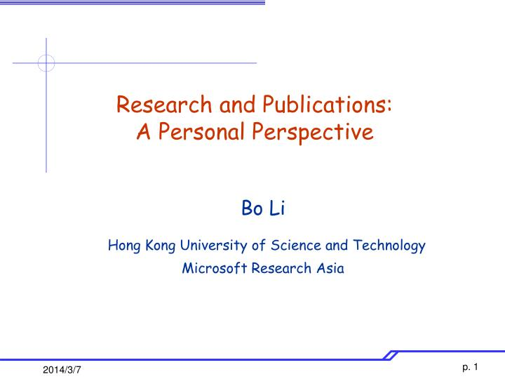 Research and publications a personal perspective
