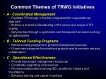 common themes of trwg initiatives