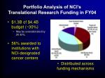 portfolio analysis of nci s translational research funding in fy04