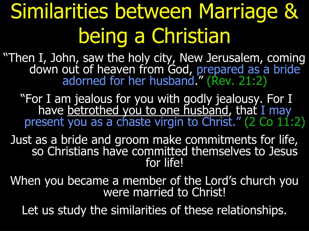 similarities between marriage being a christian l.
