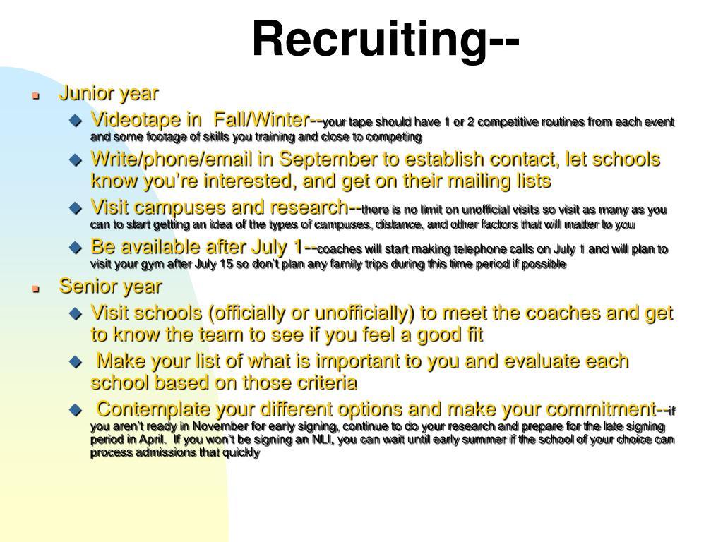 Recruiting--