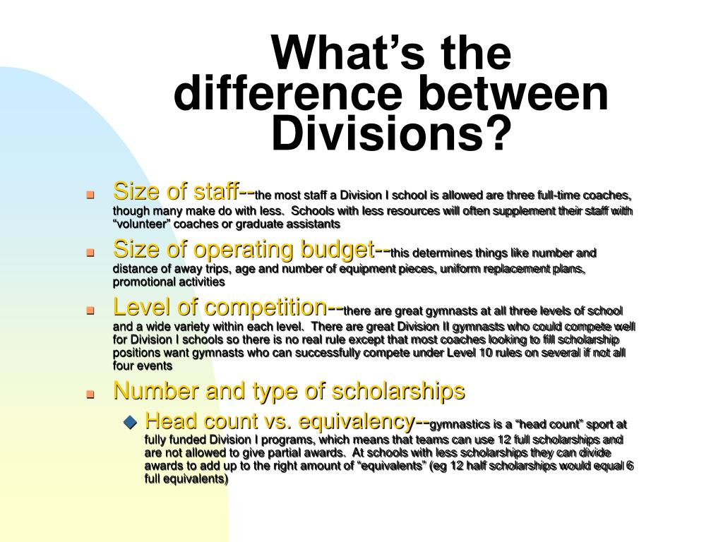 What's the difference between Divisions?