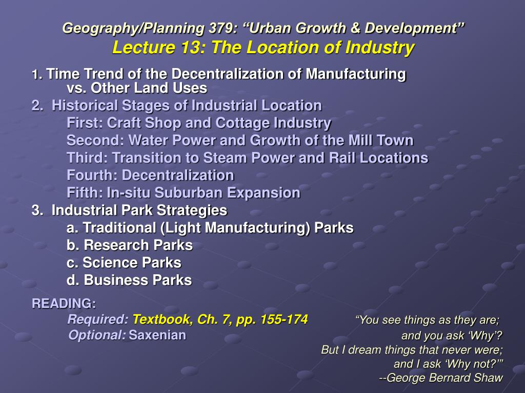 geography planning 379 urban growth development lecture 13 the location of industry l.