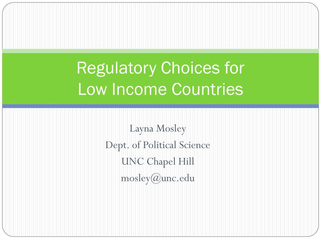 Regulatory Choices for