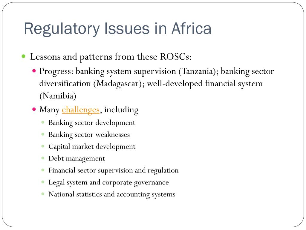 Regulatory Issues in Africa