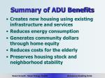 summary of adu benefits