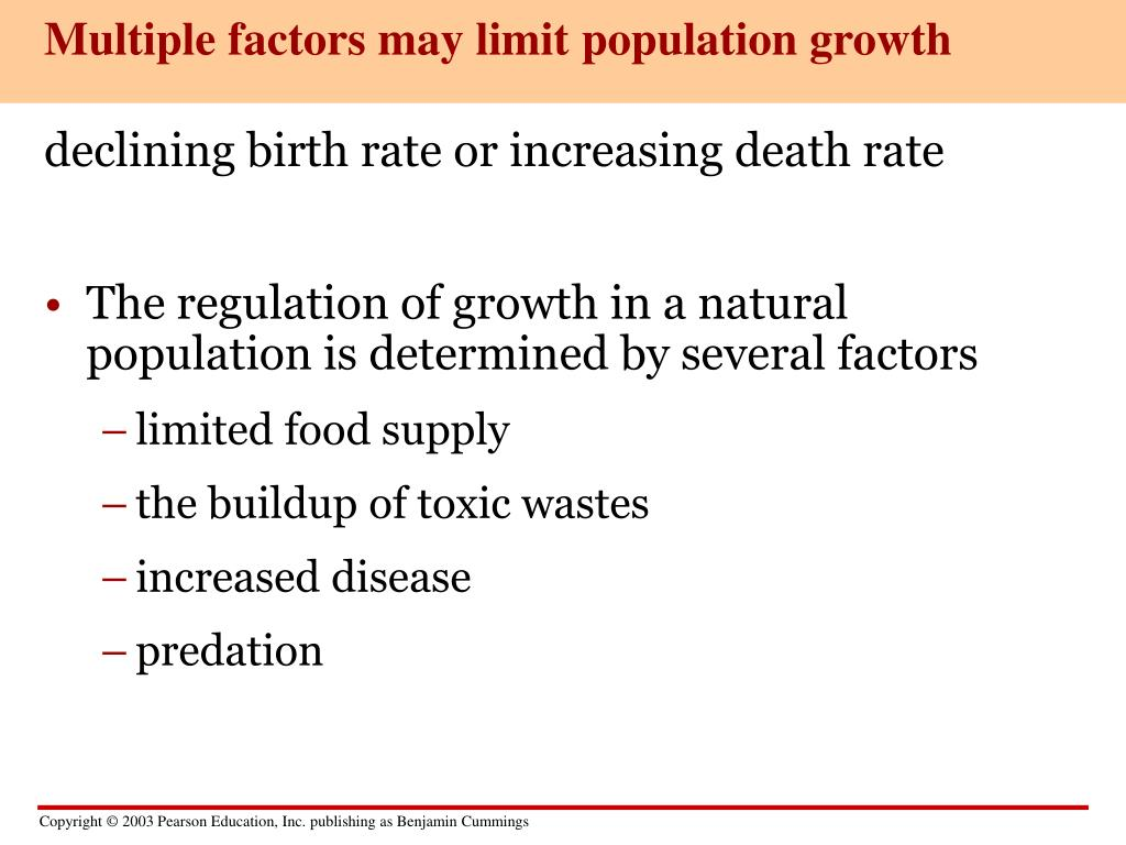 Multiple factors may limit population growth