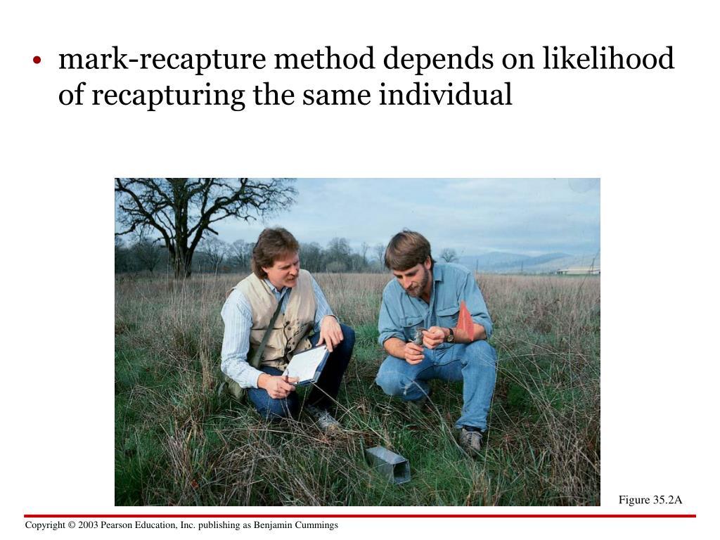 mark-recapture method depends on likelihood of recapturing the same individual