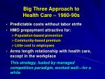 big three approach to health care 1980 90s