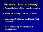 the 1980s save the industry