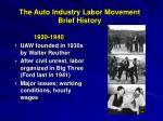 the auto industry labor movement brief history