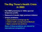 the big three s health crisis in 2003