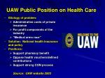 uaw public position on health care