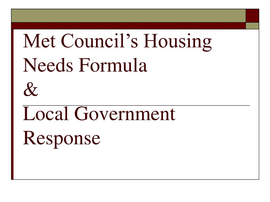 met council s housing needs formula local government response l.