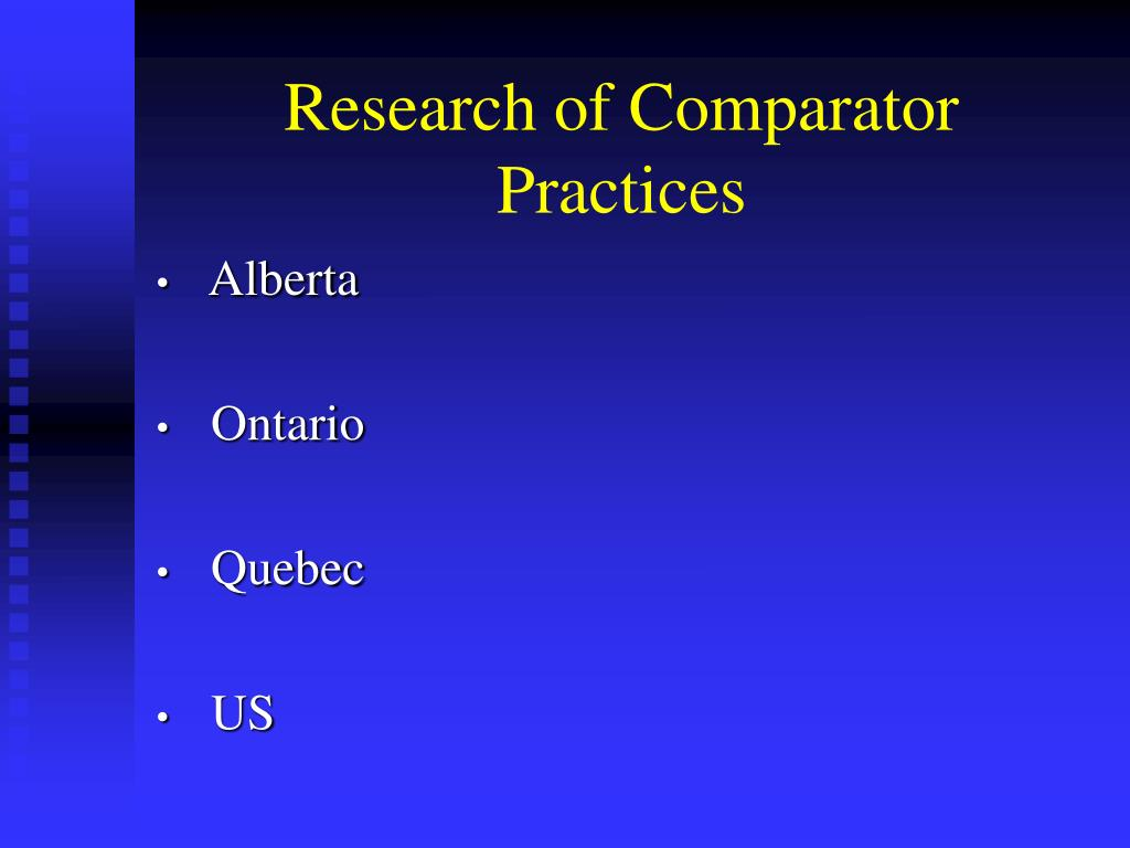 Research of Comparator Practices