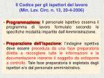 il codice per gli ispettori del lavoro min lav circ n 13 20 4 200668