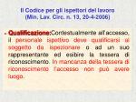 il codice per gli ispettori del lavoro min lav circ n 13 20 4 200669