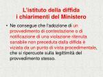 l istituto della diffida i chiarimenti del ministero26