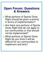 open forum questions answers