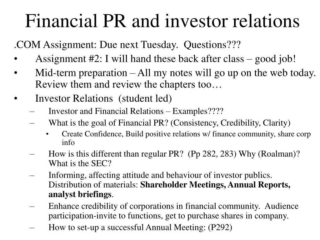 financial pr and investor relations l.