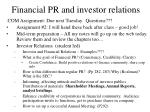 financial pr and investor relations