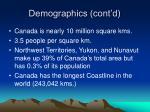 demographics cont d