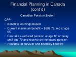 financial planning in canada cont d