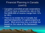 financial planning in canada cont d18