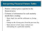 interpreting financial futures tables