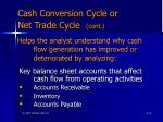 cash conversion cycle or net trade cycle cont