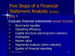 five steps of a financial statement analysis cont66