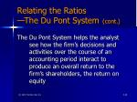 relating the ratios the du pont system cont