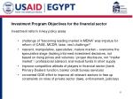 investment program objectives for the financial sector