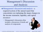 management s discussion and analysis