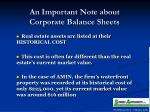 an important note about corporate balance sheets