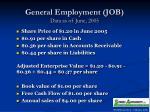 general employment job data as of june 2005