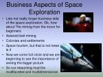 business aspects of space exploration