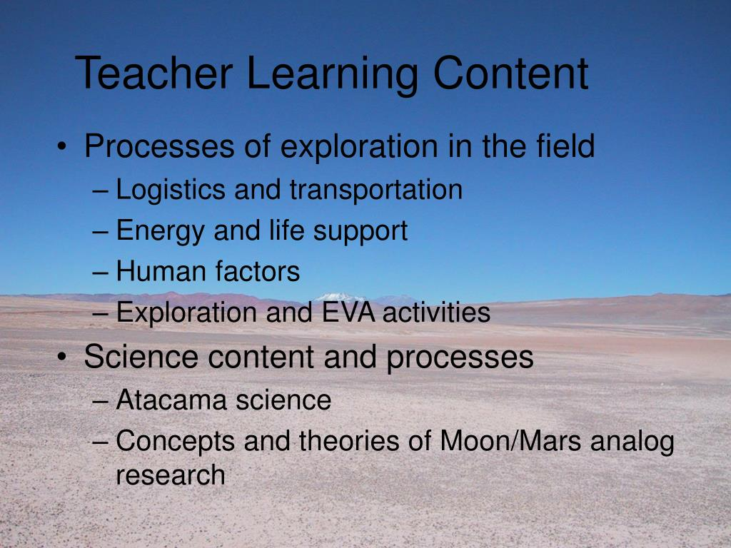 Teacher Learning Content