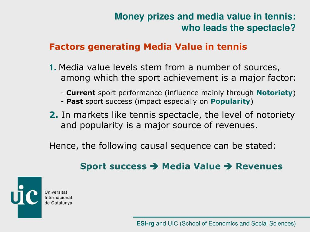 Factors generating Media Value in tennis