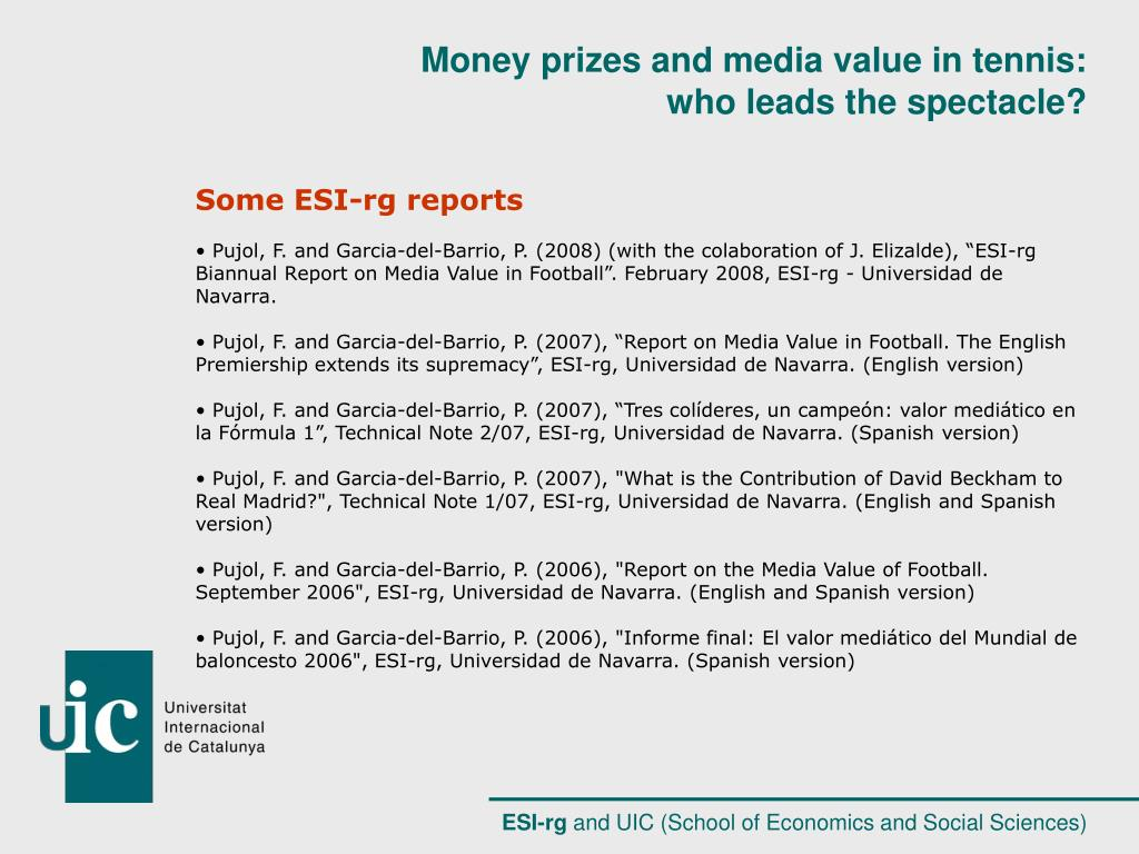 Some ESI-rg reports