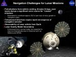 navigation challenges for lunar missions