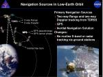 navigation sources in low earth orbit