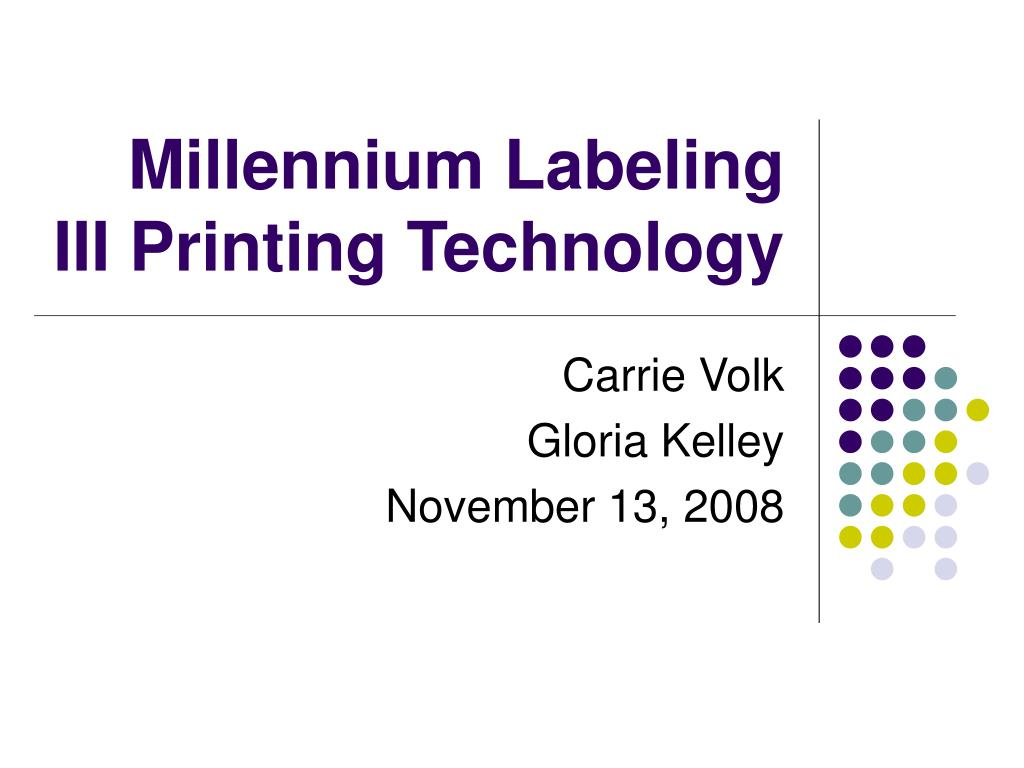 millennium labeling iii printing technology l.