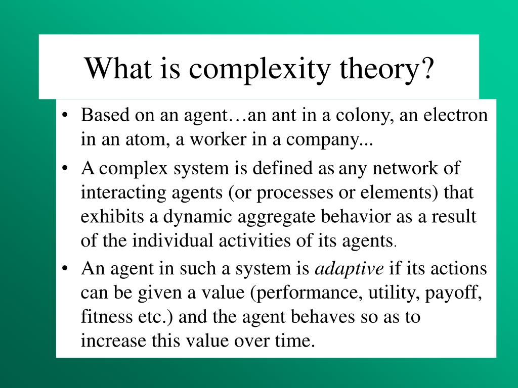 What is complexity theory?