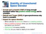 stability of unanchored space elevator