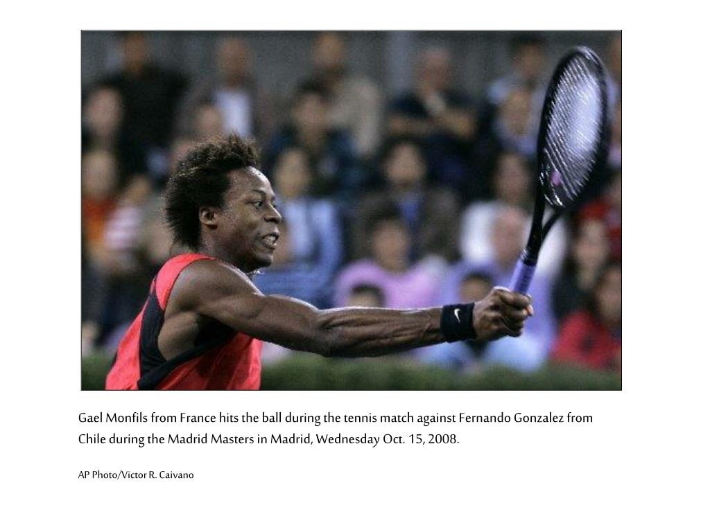 Gael Monfils from France hits the ball during the tennis match against Fernando Gonzalez from Chile during the Madrid Masters in Madrid, Wednesday Oct. 15, 2008.