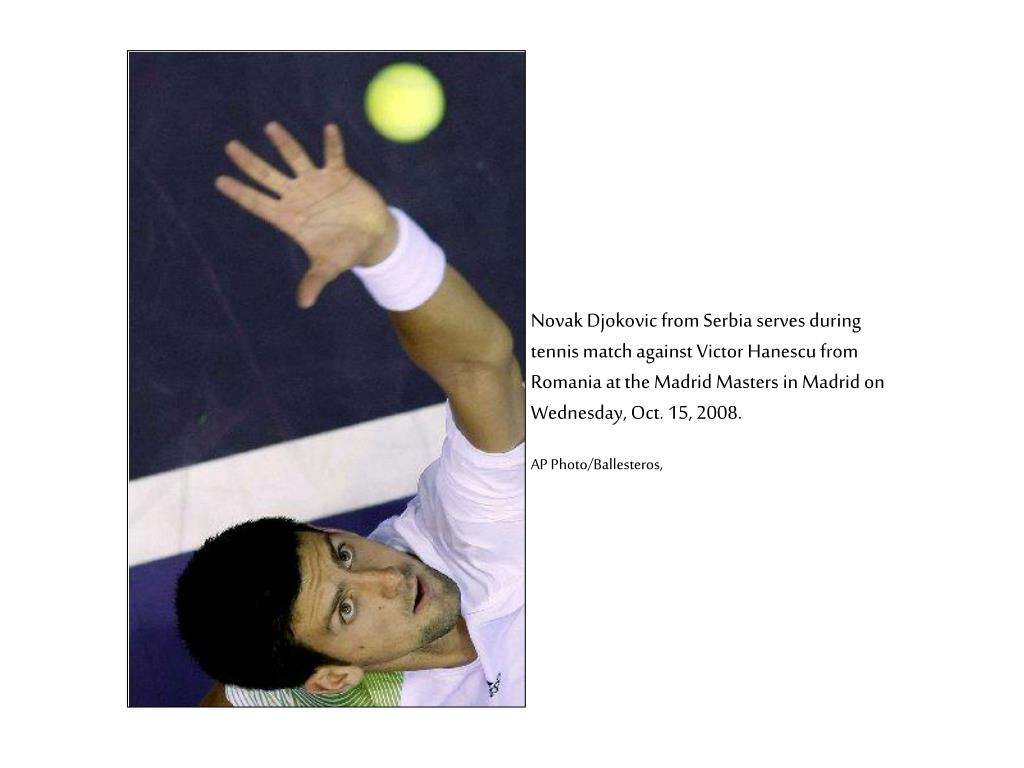 Novak Djokovic from Serbia serves during tennis match against Victor Hanescu from Romania at the Madrid Masters in Madrid on Wednesday, Oct. 15, 2008.