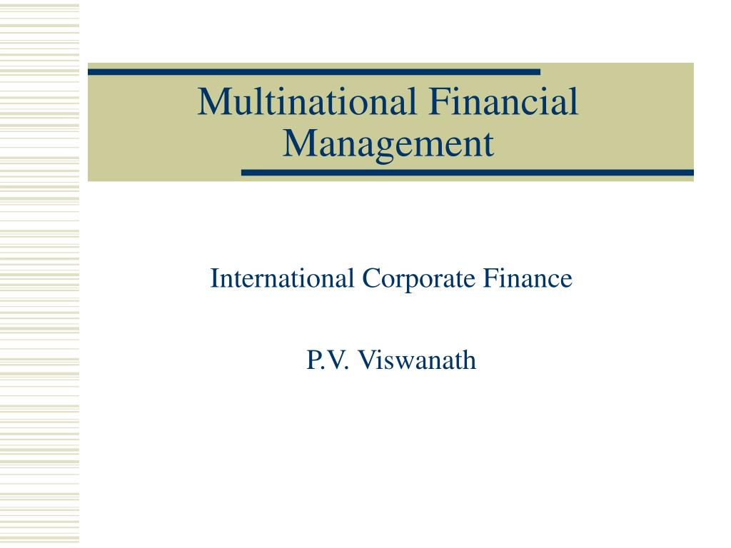 multinational financial management l.