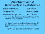 opportunity cost of investments in electrification