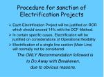 procedure for sanction of electrification projects